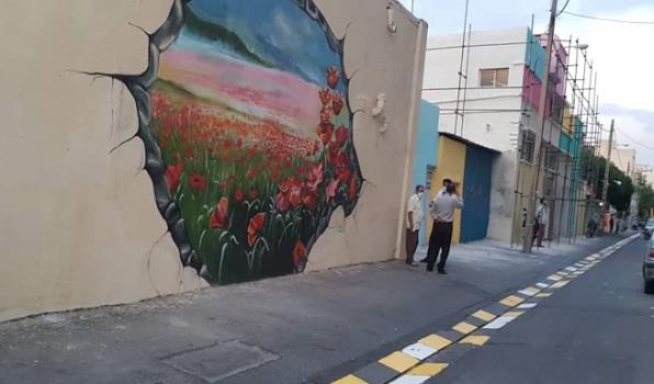 نقش بستن گلهای بهاری بر دیوارههای ۶۰ ساله